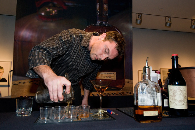 Jeromy Edwards and his winning Cider Manhattan in the Manhattan Experience Louisville