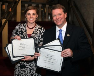 Kentucky Disillers' Association President Eric Gregory and Executive Assistant Kristin Meadors accept the six awards!