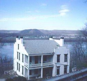 Backside view of The Pogue House with the Ohio River in the Background