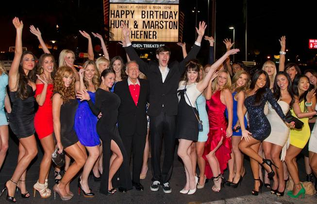 Hugh Hefner Marston Hefner Birthday Palms Casino and Resort  with Playboy models