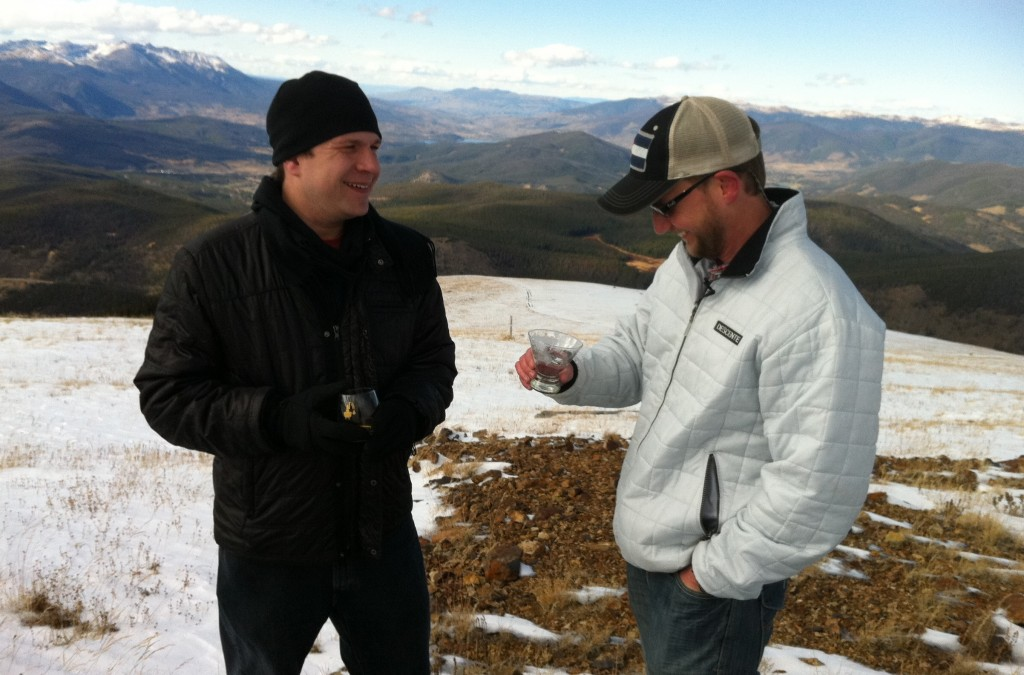 Bryan Nolt, El Jefe and CEO of Breckenridge Distillery and BourbonBlog.com's Tom Fischer drink Breckenridge Bourbon atop Mt. Baldy