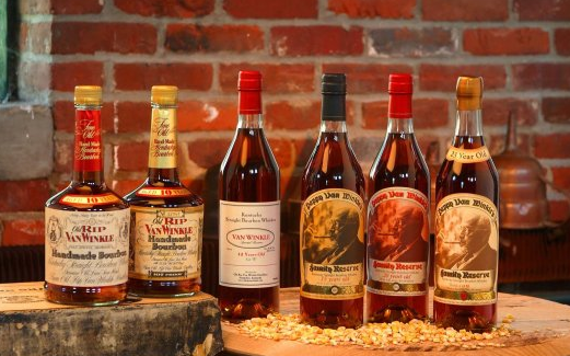 Pappy Van Winkle Collection of whiskeys and Bourbons