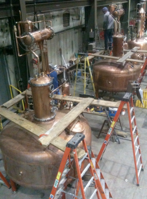 These copper pot stills as they are getting ready for their trip to Stranahan's Distillery