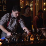 A contestant at the Woodford Reserve Manhattan Experience finale prepares his manhattan