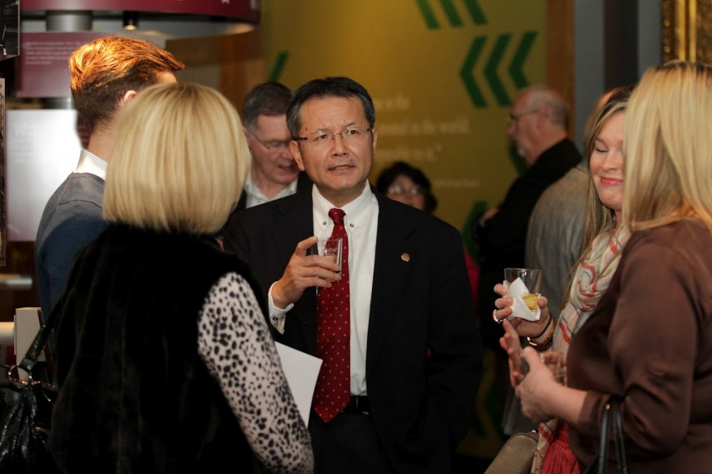 Hideki Horiguchi, President/CEO of Four Roses Bourbon, greets guest and friends of Four Roses at the opening of the Urban Bourbon Exhibit at the Kentucky Derby Museum