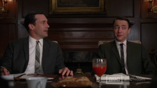 "Vincent Kartheiser as Pete Campbell, Jon Hamm as Don Draper, AMC's ""Mad Men"" Season 5"