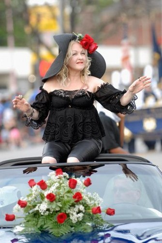 Cyndi Lauper was the Grand Marshal for the Pegasus Parade during Kentucky Derby 138, 2012