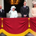 At the Conclusion of Queen's Diamond Jubilee: Camilla, Duchess of Cornwall, Prince Charles, Prince of Wales, Queen Elizabeth II, Prince William, Duke of Cambridge, Catherine, Duchess of Cambridge and Price Harry wave to the crowds from Buckingham Palace.