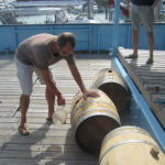 Trey Zoeller removes the barrels from the boat which has been aged the Jefferson's Ocean Aged Bourbon