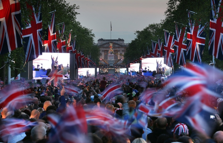 Queen's Jubilee Celebration in London where thousands in the Mall near Buckingham Palace