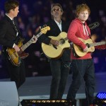 British singer Ed Sheeran sings Pink Floyd's Wish You Were Here live accompanied by Pink Floyd's Mike Rutherford and The Feeling's Richard Jones