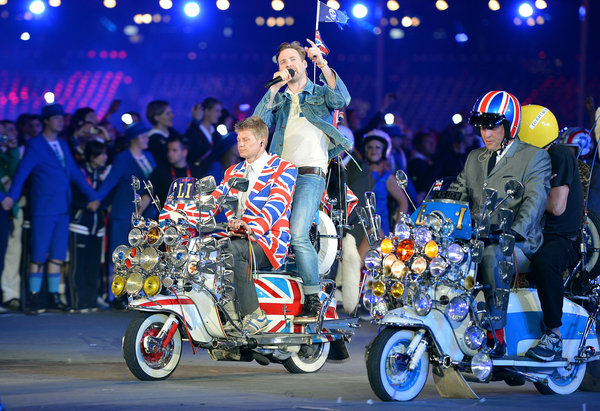 usician Ricky Wilson from the Kaiser Chiefs enters the stadium singing The Who's Pinball Wizard during the Closing Ceremony of London Olympics England