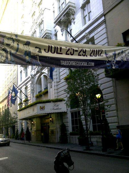 Tales of the Cocktail 2012 10th Anniversary Banner hung at the Hotel Monteleone in New Orleans
