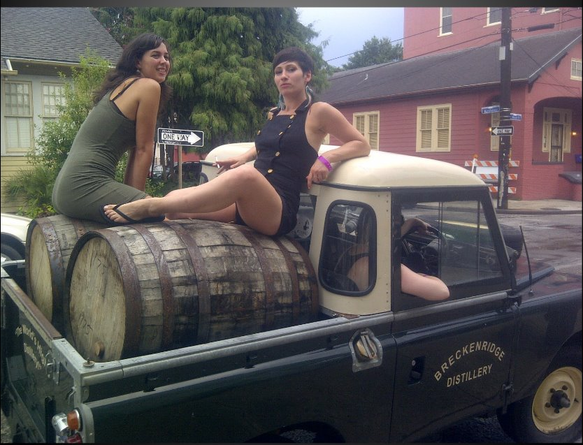 The Breckenridge Distillery rides their 1963 Land Rover through the French Quarter in New Orleans during Tales of the Cocktail 2012