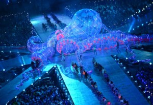 Fatboy Slim at London Olympics 2012 Closing Ceremony on top of a giant octopus performing Right Here, Right Now and Rockafeller Skank
