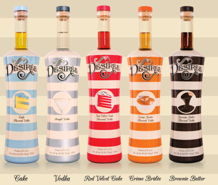 The desir e flavored vodka collection cupcake original for Flavored vodka martini recipes