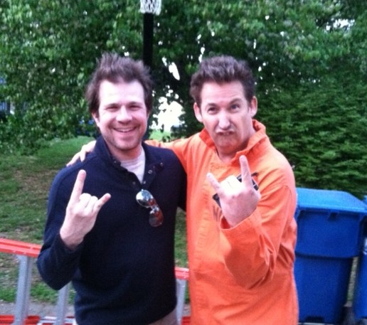 Harland Williams on the set of Old Days