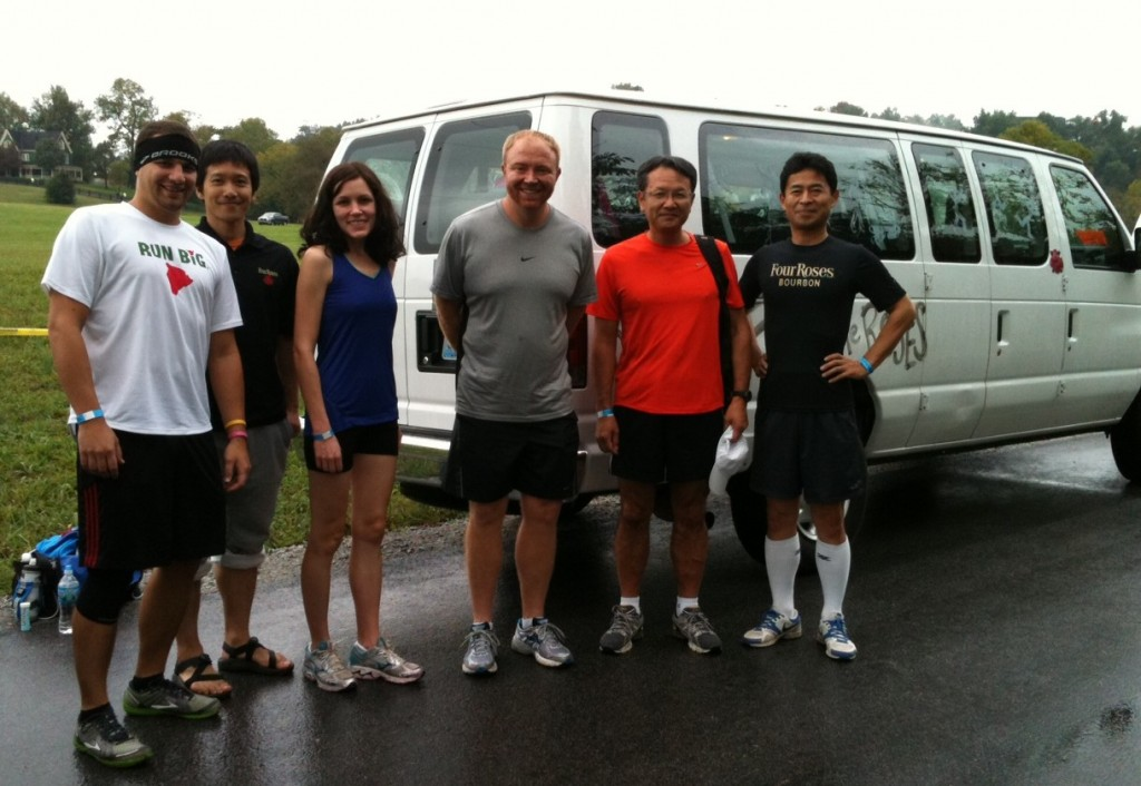 "The ""Running Four the Roses"" Team of Four Roses including CEO Hideki Horiguchi ""Hide"", Brent Elliott, Kenta, CFO Toshi and friends at Bourbon Chase 2012"