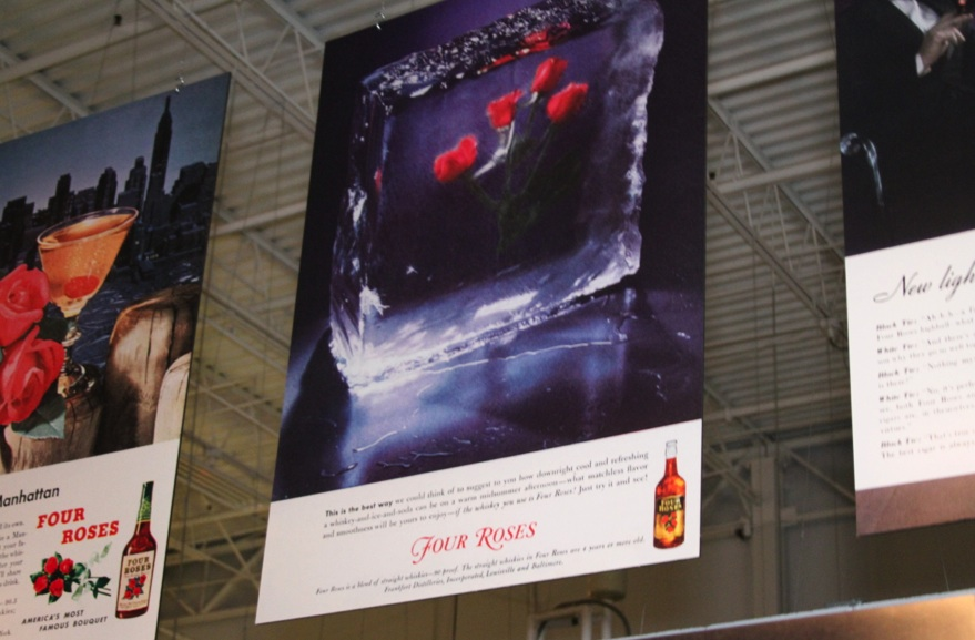 The Original Classic Vintage advertisement with Four Roses frozen in a block of ice
