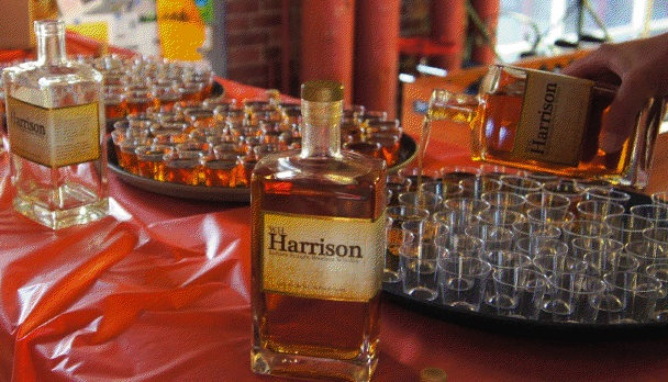Hundreds of Harrison Bourbon samples being poured for taste comparison with the beers.