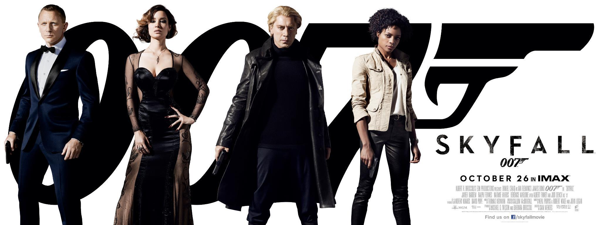Skyfall Movie Poster featuring Daniel Craig as James Bond; Bérénice Marlohe as Sévérine; Javier Bardem as Silva; Naomie Harris as Eve
