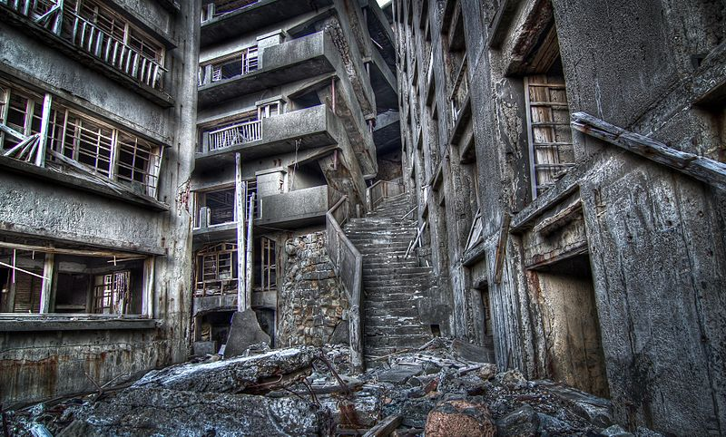 """Stairways to Hell"" on Hashima Island, these steep steps led to apartments in the buildings up to 9 stories, no elevators or escalators have been found on Gunkanjima"