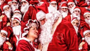 Crowd of Santas