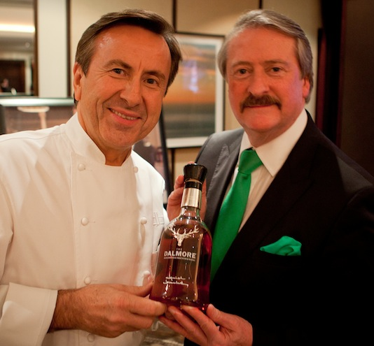 Chef Daniel Boulud holds his Dalmore Whisky Selection with Master Blender Richard Paterson