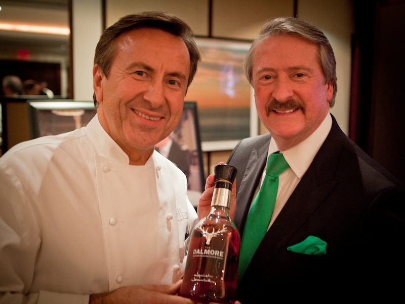 Chef Daniel Boulud and The Dalmore Msater Blender Richard Paterson hold Daniel's special  expression of The Dalmore