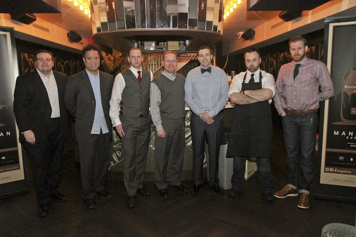 The final competitors at Woodford Reserve's Manhattan Experience finale in New York 2013 pose with Master Distiller Chris Morris