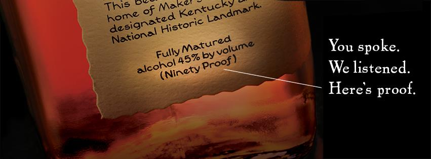 Maker's Mark Bourbon returns to 45 ABV / 90 proof, this photo was posted on Maker's Mark's Facebook page