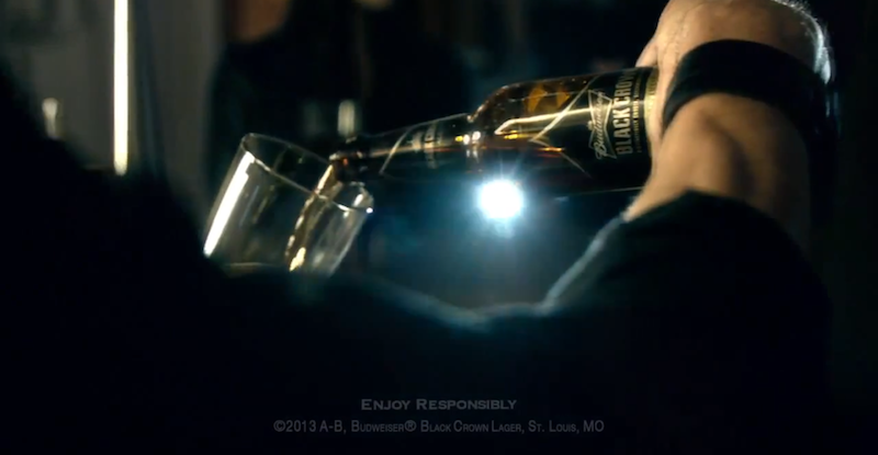 Black Crown Beer being poured in the Super Bowl Ad