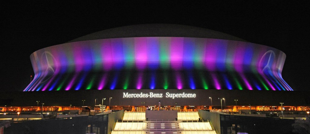 Mercedes Benz Superdome in New Orleans, Louisiana prepares for Super Bowl