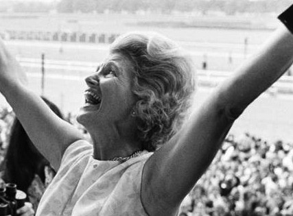 Penny Chenery, owner of Secretariat, reacts after winning the 1973 Triple Crown.