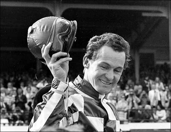 Jockey Ron Turcotte after rising Secretariat to Triple Crown Victory