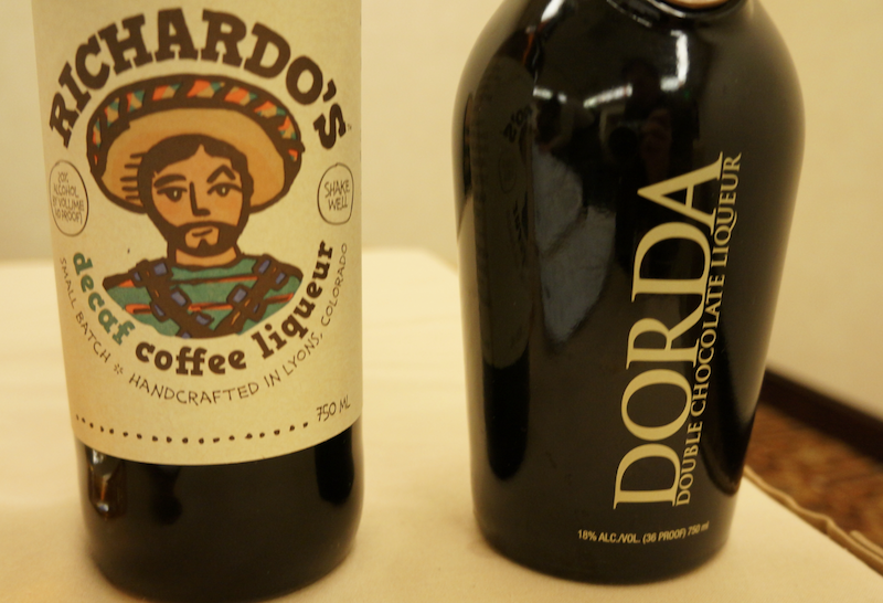 Dorda Double Chocolate Liqueur by Chopin and Ricardo's Decaf Coffee Liqueur  of Spirit Hound Distillers Colorado