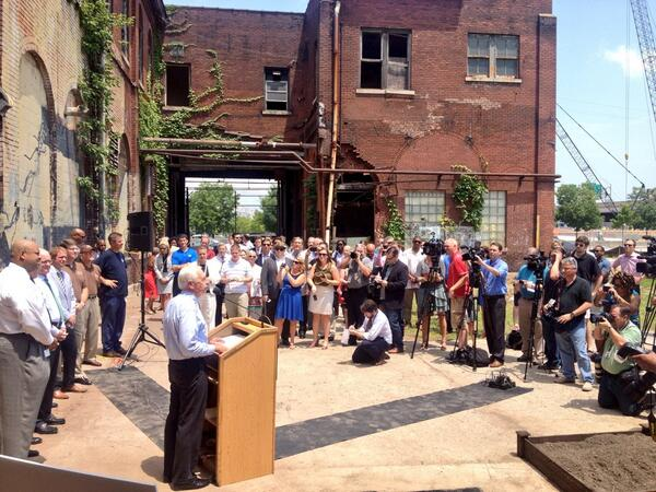 Kentucky Governor Steve Beshear addresses a crowd at Slugger Field in Louisville about the Louisville Distilling Company announcement