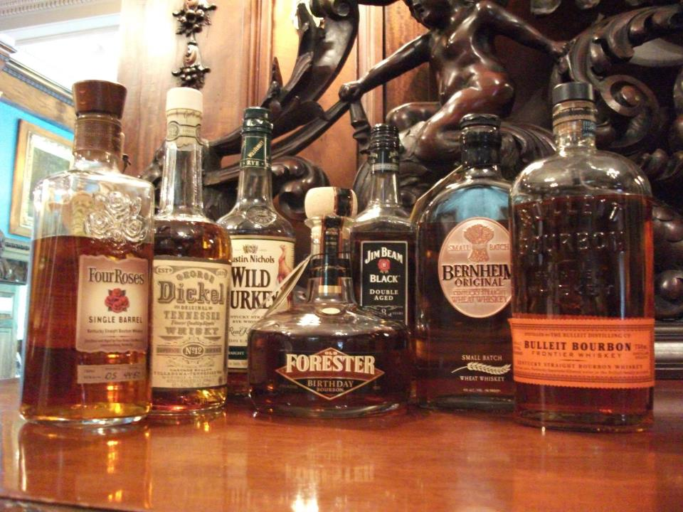 Bourbon whiskey bottles