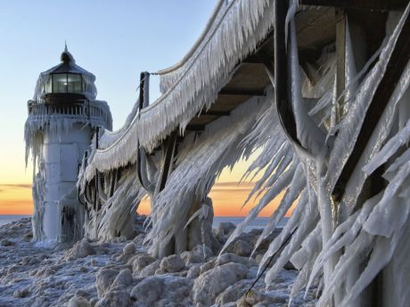 Frozen Lighthouse Michigan