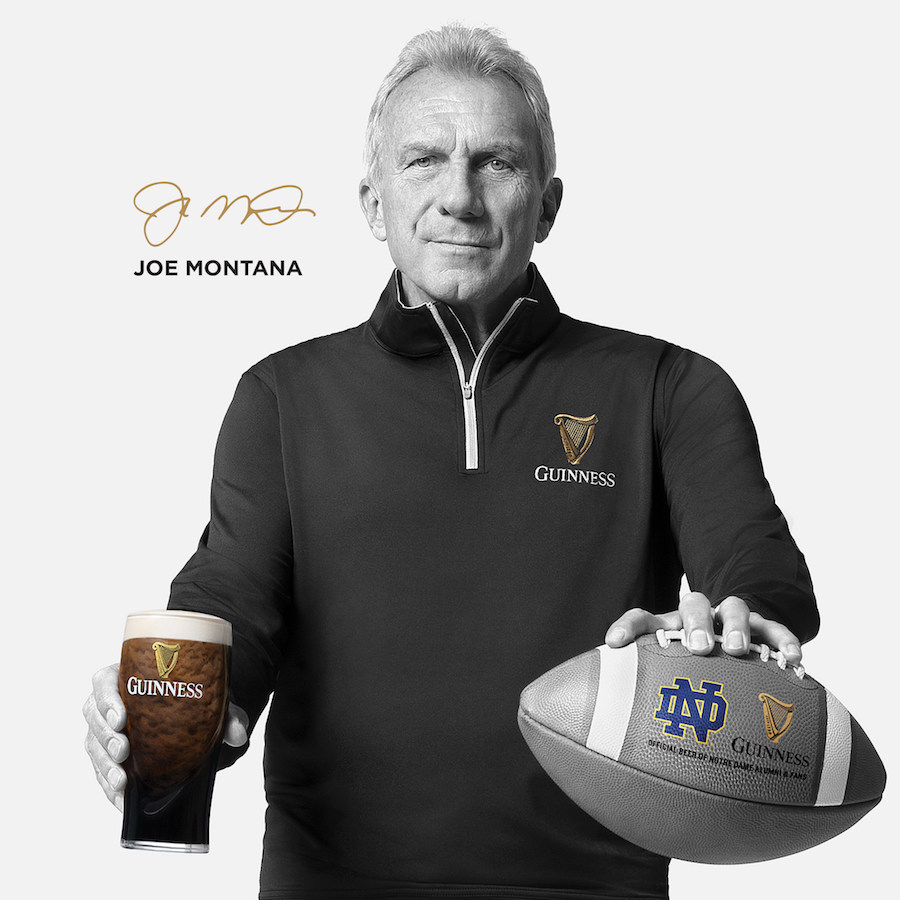 Guinness and Notre Dame Joe Montana